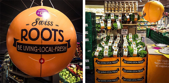 6 ballon publicitaire air pour mettre en valeur les rayons d'une boutique bio